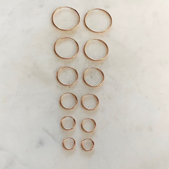 1 Pair 14K Rose Gold Filled Small Endless Hoop Earrings 9mm, 12mm, 14mm, 16mm, 20mm, 24mm Earring Wires Earring Component