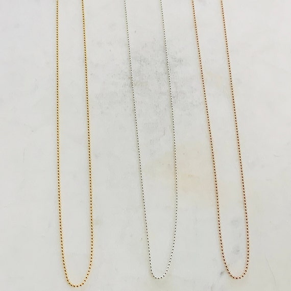 Ready To Wear Finished Ball Chain 14K Gold Filled, Sterling Silver, Rose Gold Filled 1mm Finished Chain 16in and 18in  Ready Made Necklace