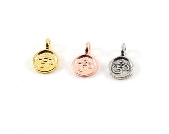 Tiny Mini Round Om Ohm Stamped Embossed Charm Pendant Vermeil Gold, Sterling Silver, Rose Gold Sideways Loop Pendant