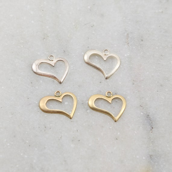 2 Pieces Open Heart Silhouette Delicate Lightweight Charm in Sterling Silver and 14K Gold Filled