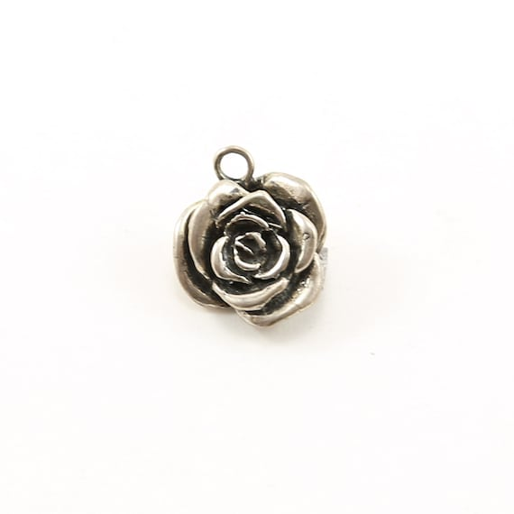 Sterling Detailed Thick Beautiful Rose Flower Plant Nature Charm in Sterling Silver