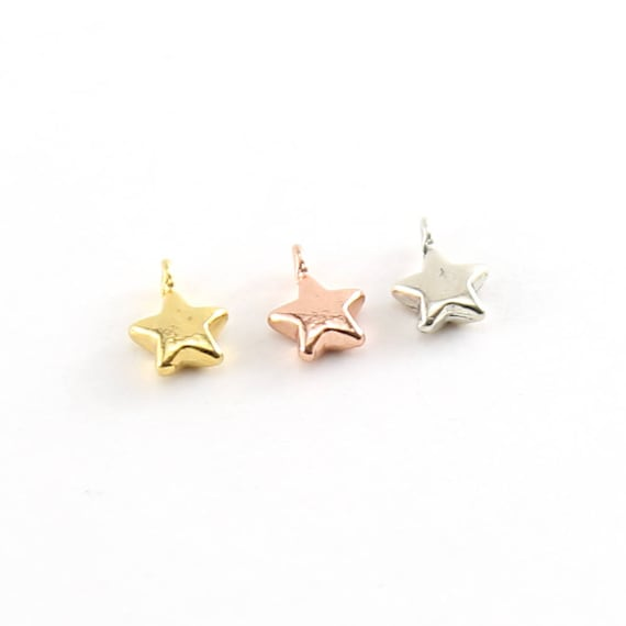 Teeny Tiny Puffy Star Charm Celestial Pendant in Vermeil Gold Rose Gold or Sterling Silver