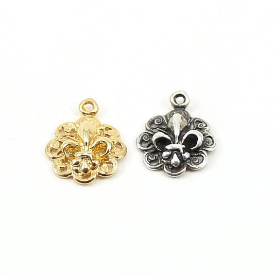 3D Fleur di Lis Charm with Fancy Lace Pendant in Sterling Silver or Vermeil Gold