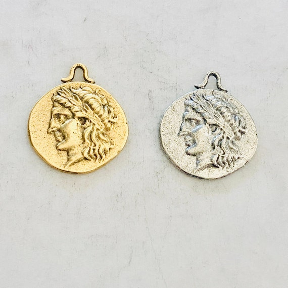 Ancient Greek Mythology Lion Symbol Double Sided Coin Medallion Charm pendant Pewter Antique Gold or Antique Silver
