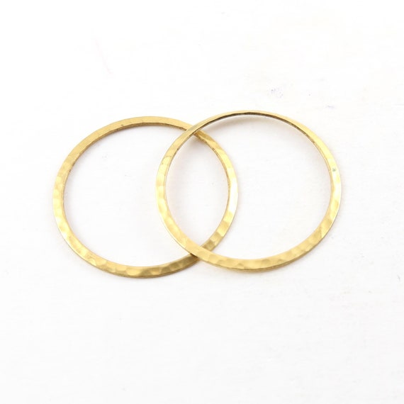 2 Pieces Raw Brass Thin Open Circle 33mm Connector Link Round Charm Textured Circle Stamping Blank
