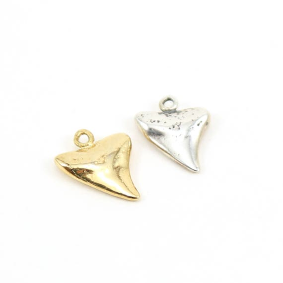 Smooth Shark Tooth Charm Pendant Ocean Animal Nautical Charm in Sterling Silver or Vermeil Gold