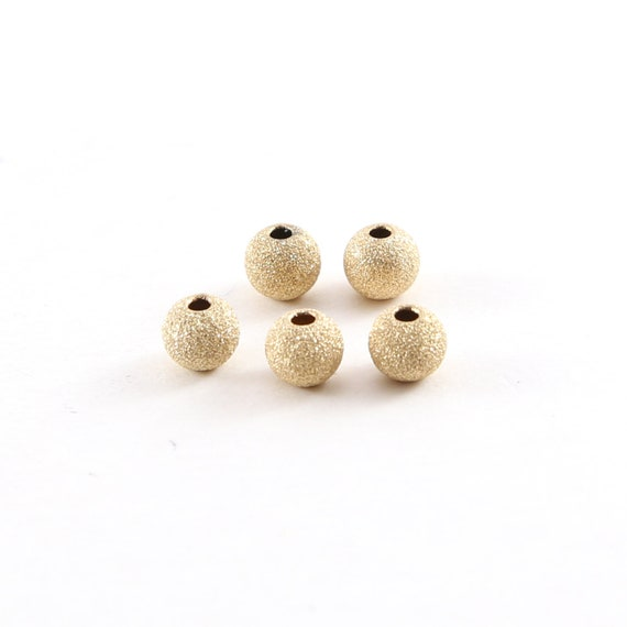 5 Pieces 5mm Stardust Bead Shiny Sparkle Seamless Round Round 14K Gold Filled Spacer Beads