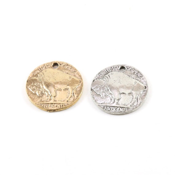 Pewter United States Round Buffalo Five Cents Coin Charm Medallion Pedant in Antique Gold and Antique Silver