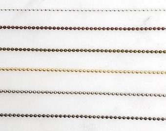 3 Ft Tiny Delicate  1mm Base Metal Shiny Gold, Silver, or Matte Gold Plated Ball Chain Dog Tag Chain / Chain by the Foot / Unfinished Chain
