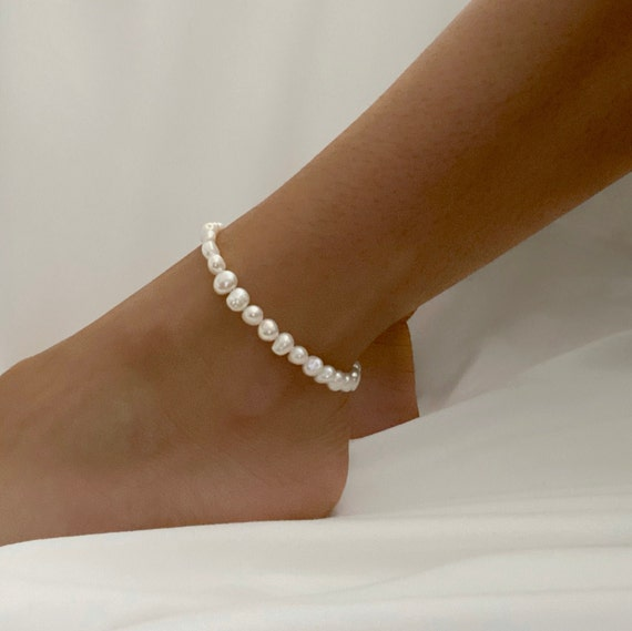 Freshwater Pearl Anklet Beaded Handmade Pearl Charm Anklet Ready To Wear