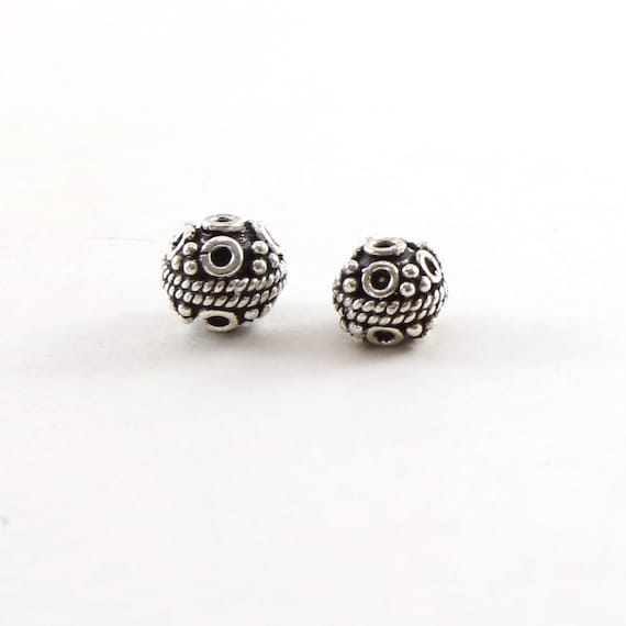 Unique Textured Artisan Sterling Silver Bali Style Accent Round Spacer Bead - Choose your size 6mm or 7mm