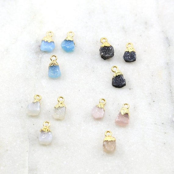 1 Piece Unique Teardrop Shaped Druzy Charm 1 Loop Pendant Drop Charm / Vermeil / Choose your Druzy Color
