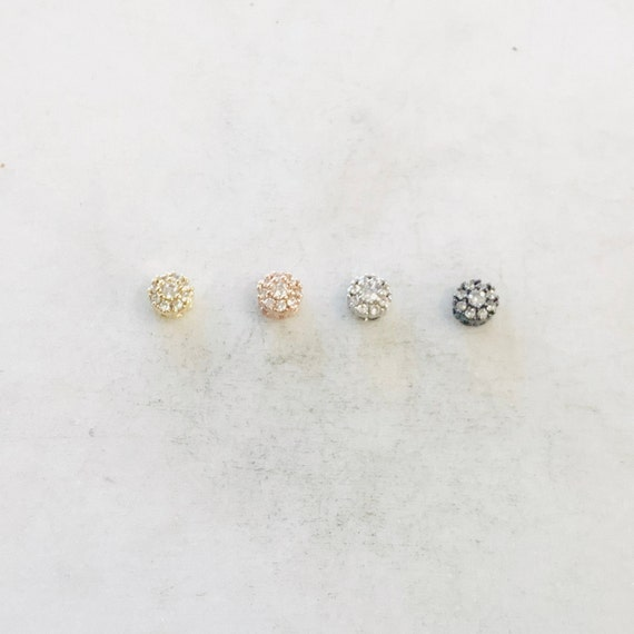 Daisy Flower Pave Bead Cubic Zirconia CZ Rhodium Plated Spacer Bead in Silver, Rose Gold, or Gunmetal Jewelry Making Supplies