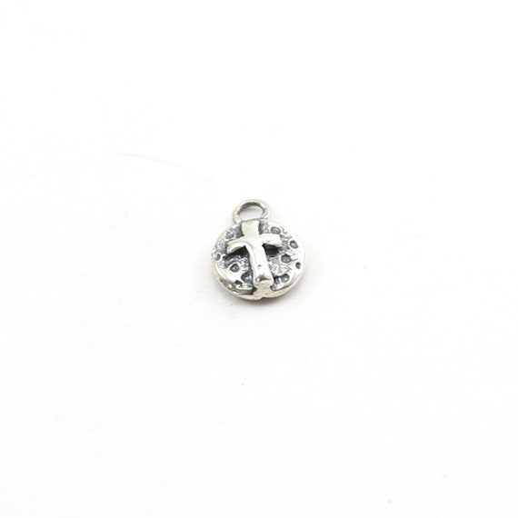 Sterling Silver Little Coin Cross Circle Charm with Bail Pendant Religious Spiritual Catholic Pendant
