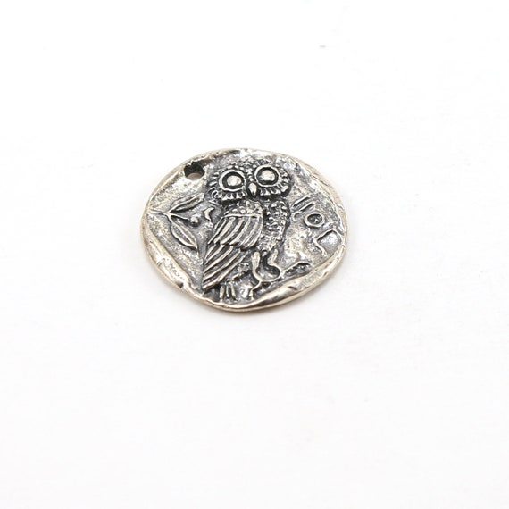 Raised Unique Owl Coin Medallion Pendant in Sterling Silver Nature Pendant Double Sided Coin
