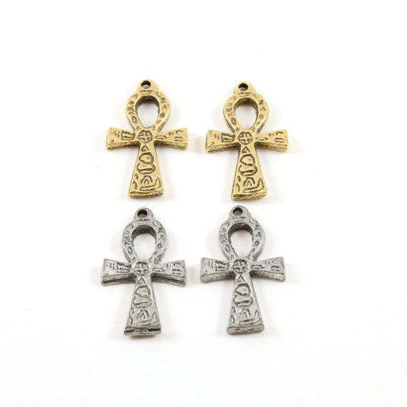 2 Pieces Egyptian Ankh Life Charm Pewter Base Metal Antique Silver Antique Gold