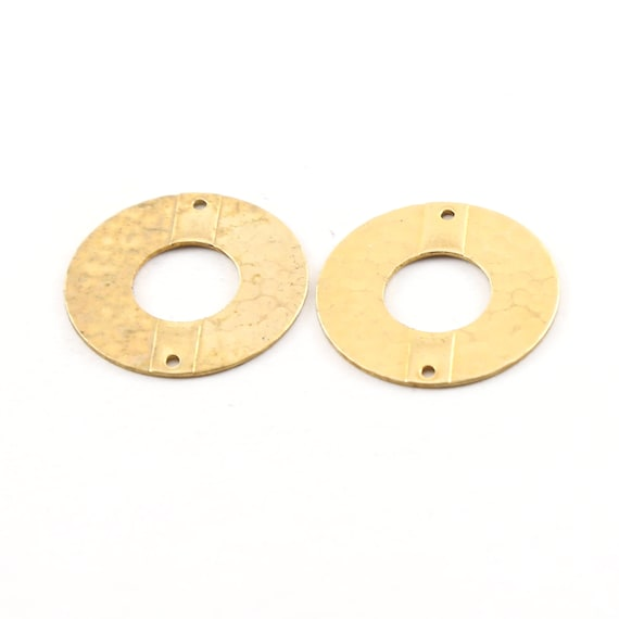 2 Pieces Raw Brass Open Circle 22mm Connector Link Round Charm Textured Circle Stamping Blank