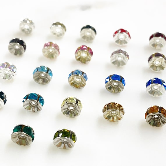 10 Piece Swarovski Crystal Rondelles 6mm Spacer Beads Authentic Swarovski Crystal Choose Your Color Silver Plated Jewelry Making Beads