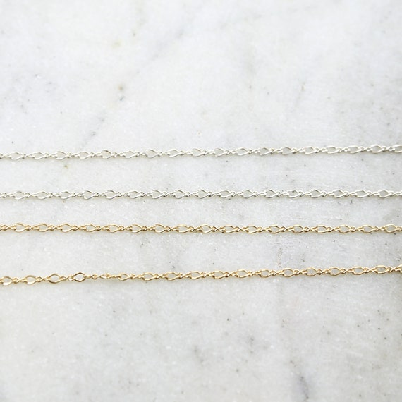 Dainty Figure 8 Shiny Chain 14K Gold Filled or Sterling Silver / Sold by the Foot / Bulk Unfinished Chain
