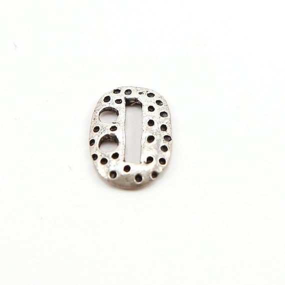 Sterling Silver Oval Dotted Leather Button Connector Charm
