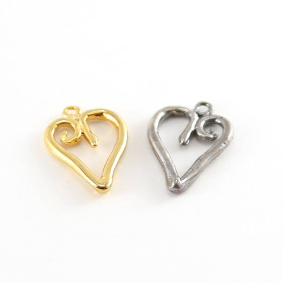 Organic Shaped Heart Outline Charm in Sterling Silver or Vermeil Gold