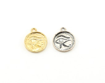 Eye of Horus Ancient  Egyptian Coin Medallion Charm in Sterling Silver or Vermeil Gold