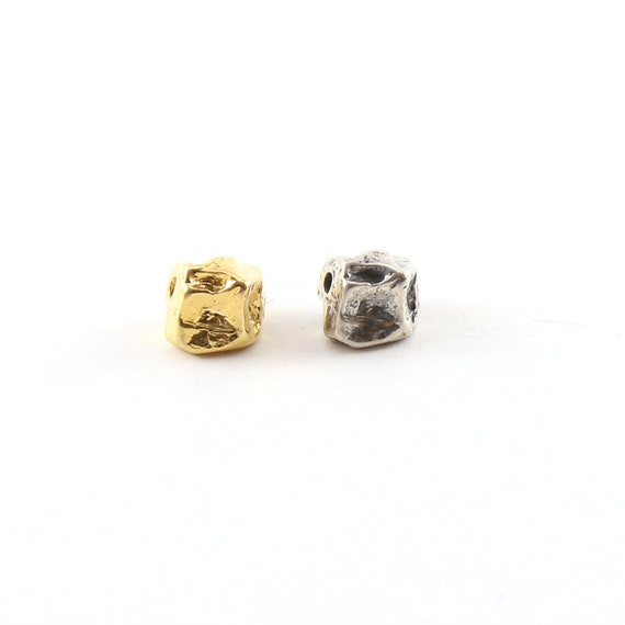 Large 8mm Raw Shape Nugget Spacer Bead in Sterling Silver or Vermeil Gold