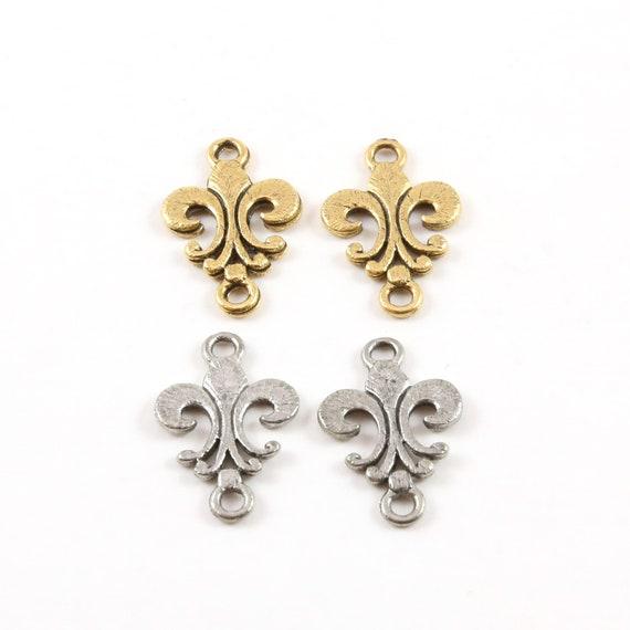 2 Pieces Simple Flat  Fleur De Lis 2 Loop Connector Charm Earring Component Pewter Necklace Charm 12mm x 20mm Antique Gold or Antique Silver
