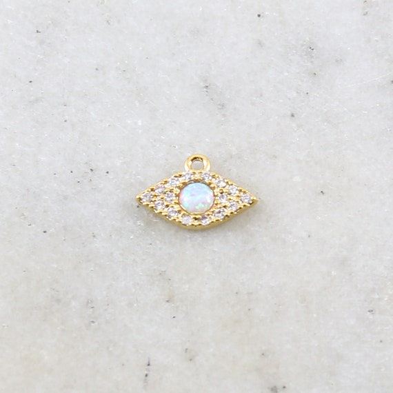 Gold Pave CZ Evil Eye Pendant Charm with Opal Stone Protector Rhodium Plated Necklace Charm