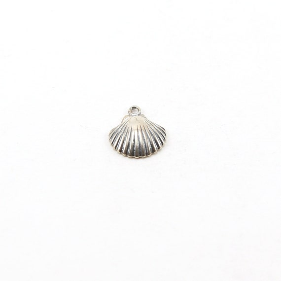 Large Sterling Silver Shell Ocean Nautical Charm Pendant