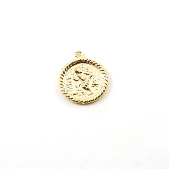 Saint Christopher Medallion Coin Gold Rhodium Plated Delicate Charm Religious Catholic Pendant Jewelry