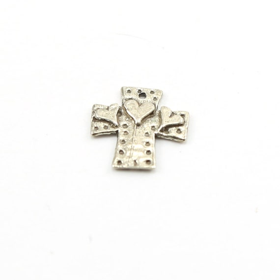 Sterling Silver Whimsical Dotted Patch Cross with Three Hearts Charm Pendant Religious Spiritual Catholic Pendant