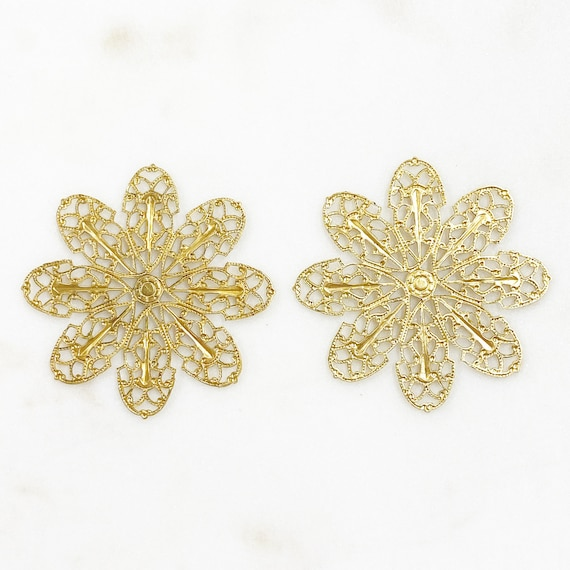 2 Piece Filigree Raw Brass Flower Shaped Wire Tracery Unique Jewelry Making Supplies