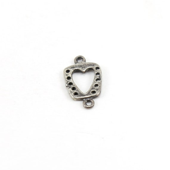925 Sterling Silver 6 Small Heart Charms 6x7mm.