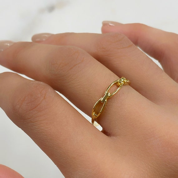 Vermeil Thin Chain Ring Size 7 Stackable Band Ring Ready to Wear Ring