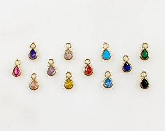 Tiny Tear Drop Cubic Zirconia Stone Charm Teeny Tiny Gold Plated CZ Charm Choose Your Color