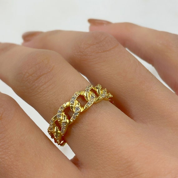 Adjustable Cubic Zirconia Covered Chain Link Ring Gold Plated Stackable Ring