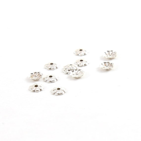 10 Pieces 4mm Sterling Silver Flower Bead Cap Jewelry Making Supplies