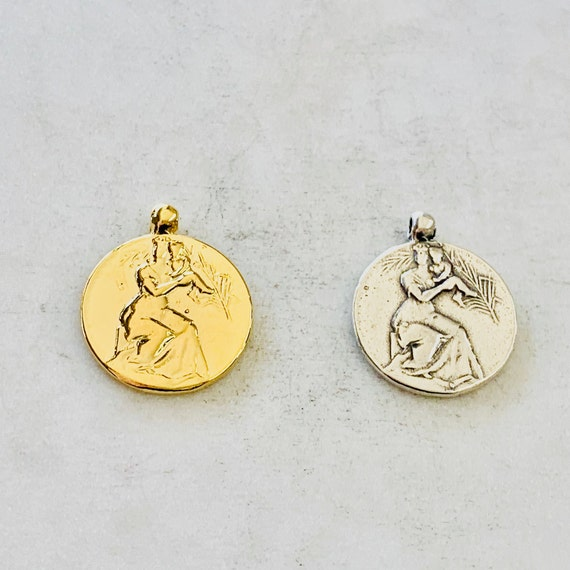 Mother Holding Child Coin Round Medallion French Coin Replica Vermeil or Sterling Silver Bail Coin Disc