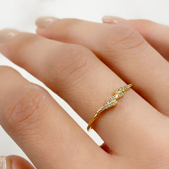 Vermeil Lightning Bolt CZ Ring Size 7 Thin Stackable Rings