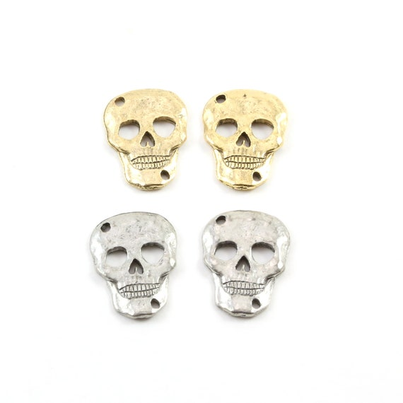 2 Pieces Pewter Flat Textured Skull Connector Link Charm Pendant Halloween Skeletons Day of the Dead Charm in Antique Gold, Antique Silver