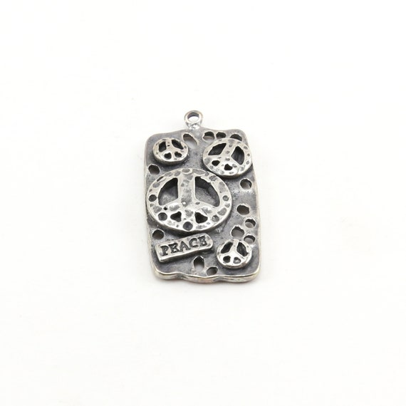 Large Sterling Silver Multi-Peace Sign 3D Rectangle Charm Hippie Love 60's Charm
