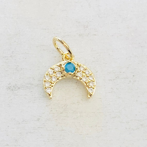 Cute Tiny Horn Crescent Moon Gold Plated Cubic Zirconia with Turquoise Stone