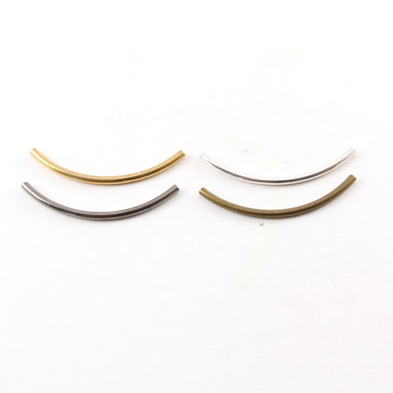 10 Pieces Long 40mm x 1mm Bar Brass Bugle Bead Curved Tube Morse Code Beads / Gold, Silver, Brass, Gunmetal