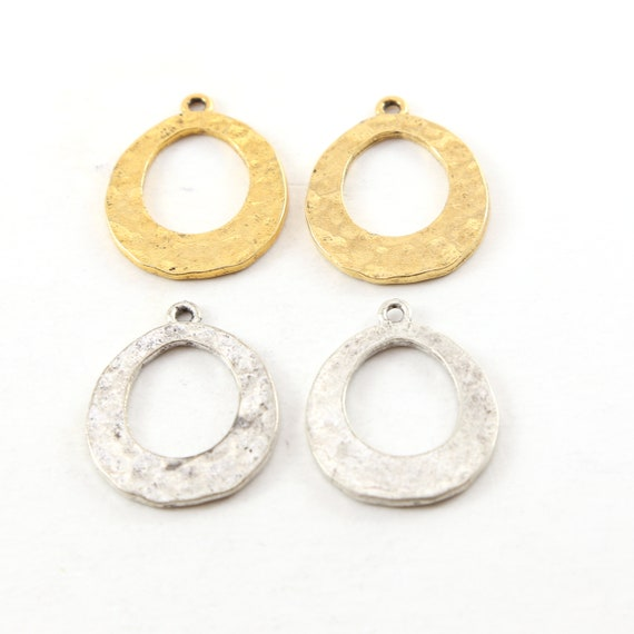 2 Pieces Pewter Metal Textured Open Teardrop Earring Component Pendant Antique Gold, Antique Silver