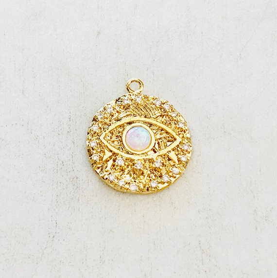 Evil Eye Coin Opal Gold Round Charm 20mm Pink White Opal Stone Evil Eye Gold Plated CZ Drop Charm Cubic Zirconia Protector Charm