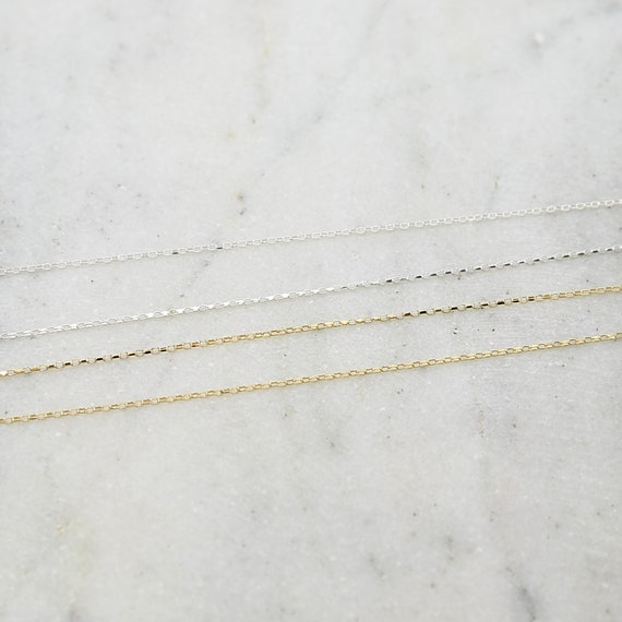 Sleek Shiny Diamond Cut Faceted Delicate Long Rectangle Chain Sterling Silver or Vermeil / Sold by the Foot/ Bulk Unfinished Chain