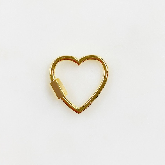 Heart Shaped Carabiner Screw Clasp Gold Plated Necklace Connector Clasp