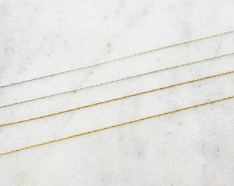 0.61mm Beading Chain Delicate Thin Sterling Silver or 14K Gold Filled Snake Chain / Sold by the Foot / Bulk Unfinished Chain
