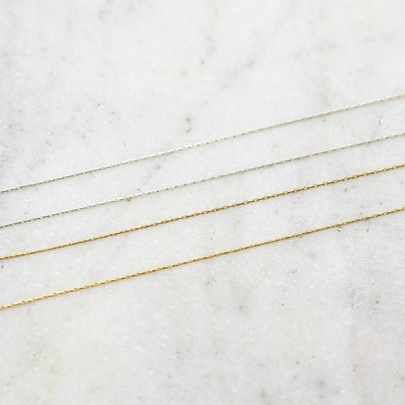 0.61mm Beading Chain Delicate Thin Sterling Silver or 14K Gold image 0